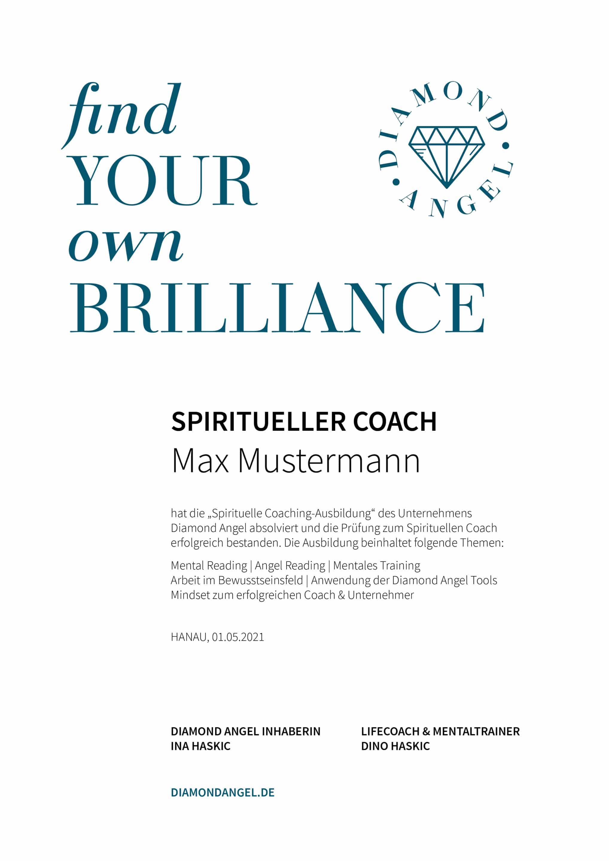 Diamond Angel Spirituelle Coaching-Ausbildung Zertifikat